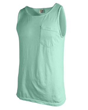 Lilly Scallop Monogram Comfort Colors Tank Top Pocket, ladies, Comfort Colors, - Sunny and Southern,