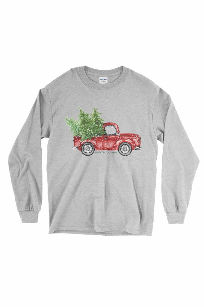 Red Truck Christmas Shirt - Gildan Long Sleeve