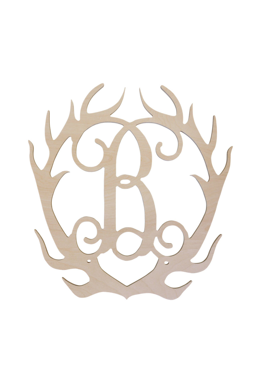 Single Initial Wood Antlers, Home, WB, - Sunny and Southern,