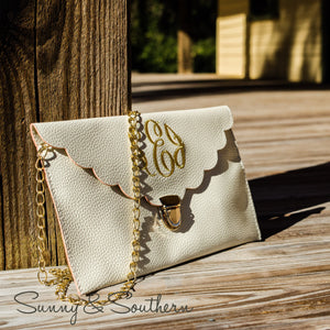 Classic Monogrammed Scalloped Clutch, accessories, Sunny and Southern, - Sunny and Southern,