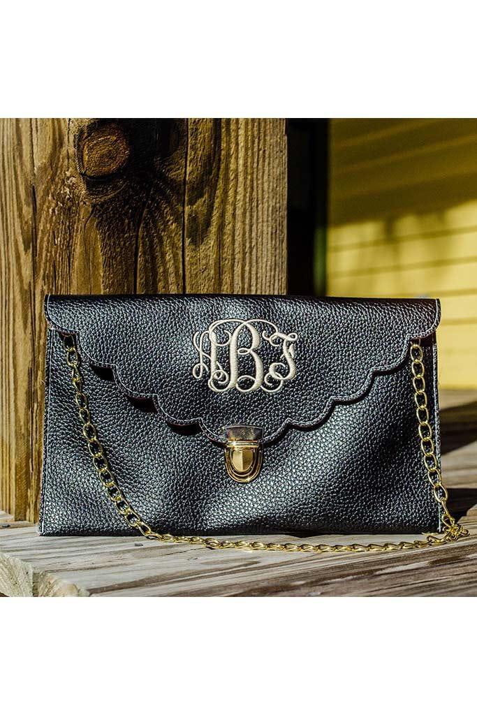 Monogrammed Scalloped Clutch, accessories, Sunny and Southern, - Sunny and Southern,