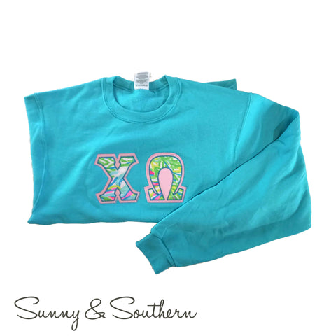 Lilly Greek Double Stitch Letters Crewneck Pullover Sweatshirts
