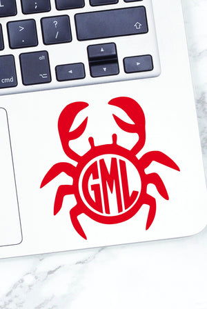 Monogrammed Vinyl Decal Crab, Accessories, Sunny and Southern, - Sunny and Southern,