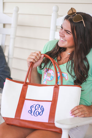 Canvas Seersucker Tote, Accessories, Sunny and Southern, - Sunny and Southern,