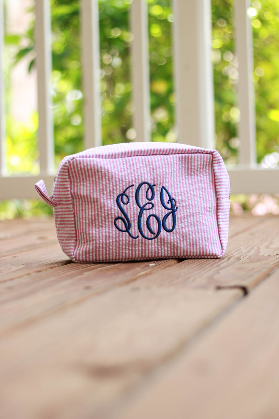 Monogrammed Seersucker Cosmetic bag, Accessories, domil, - Sunny and Southern,