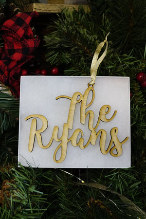 Custom Wood Name Ornament with 2 lines- Ryan Font, Accessories, Sunny and Southern, - Sunny and Southern,