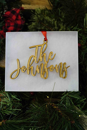 Custom Wood Name Ornament with 2 lines- Johnson Font, Accessories, Sunny and Southern, - Sunny and Southern,