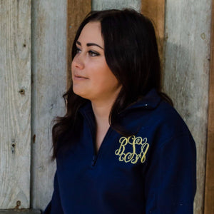 Classic Monogrammed 1/4 Quarterzip Sweatshirt Jacket, Ladies, Sanmar/virg, - Sunny and Southern,
