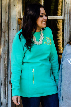 Classic Monogrammed Scoop Neck Jacket Sweatshirt, ladies, charles river, - Sunny and Southern,