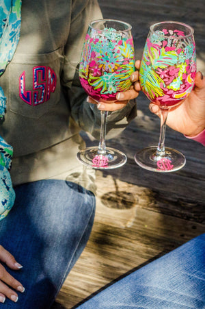 Lilly Pulitzer Monogrammed Wine Glasses, accessories, Lilly Pulitzer, - Sunny and Southern,