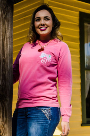 Lilly Bow Monogrammed Long Sleeve Pocket Tee, Ladies, Sunny and Southern, - Sunny and Southern,