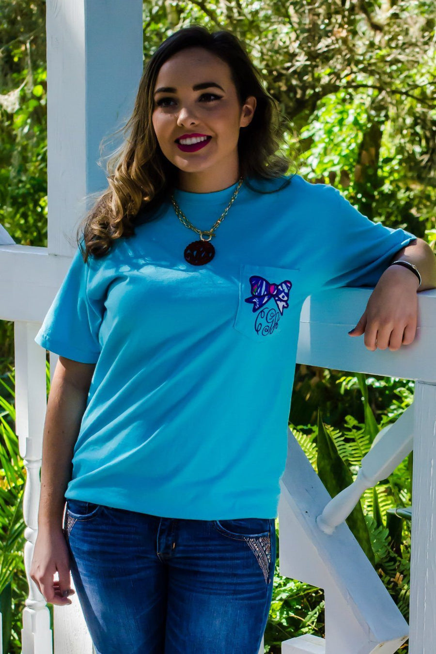 Lilly Bow Monogrammed Short Sleeve Pocket Tee, Ladies, Sunny and Southern, - Sunny and Southern,