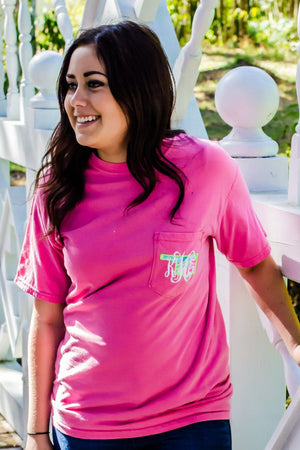 Lilly State Monogrammed Short Sleeve Pocket Tee, Ladies, Sunny and Southern, - Sunny and Southern,