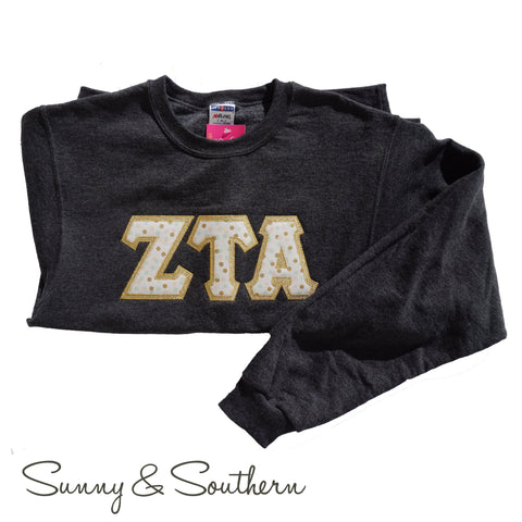 Greek Double Stitch Letters Crewneck Pullover Sweatshirts