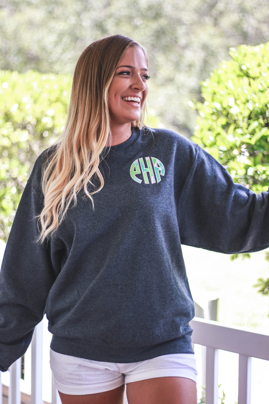 Lilly Crew Neck Monogrammed Sweatshirt, ladies, Sanmar/virg, - Sunny and Southern,