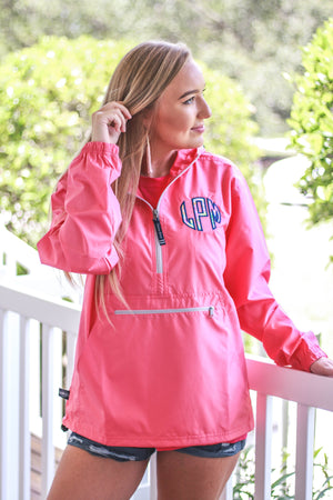 Lilly Monogram Womens Anorak Windbreaker - No Liner, Ladies, Charles River, - Sunny and Southern,