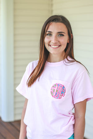 Lilly Monogrammed Short Sleeve Pocket Tee, Ladies, Sunny and Southern, - Sunny and Southern,