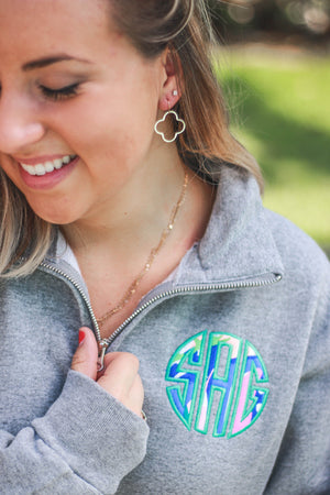 Lilly Circle Monogrammed Quarterzip Sweatshirt Jacket, Ladies, Sunny and Southern, - Sunny and Southern,