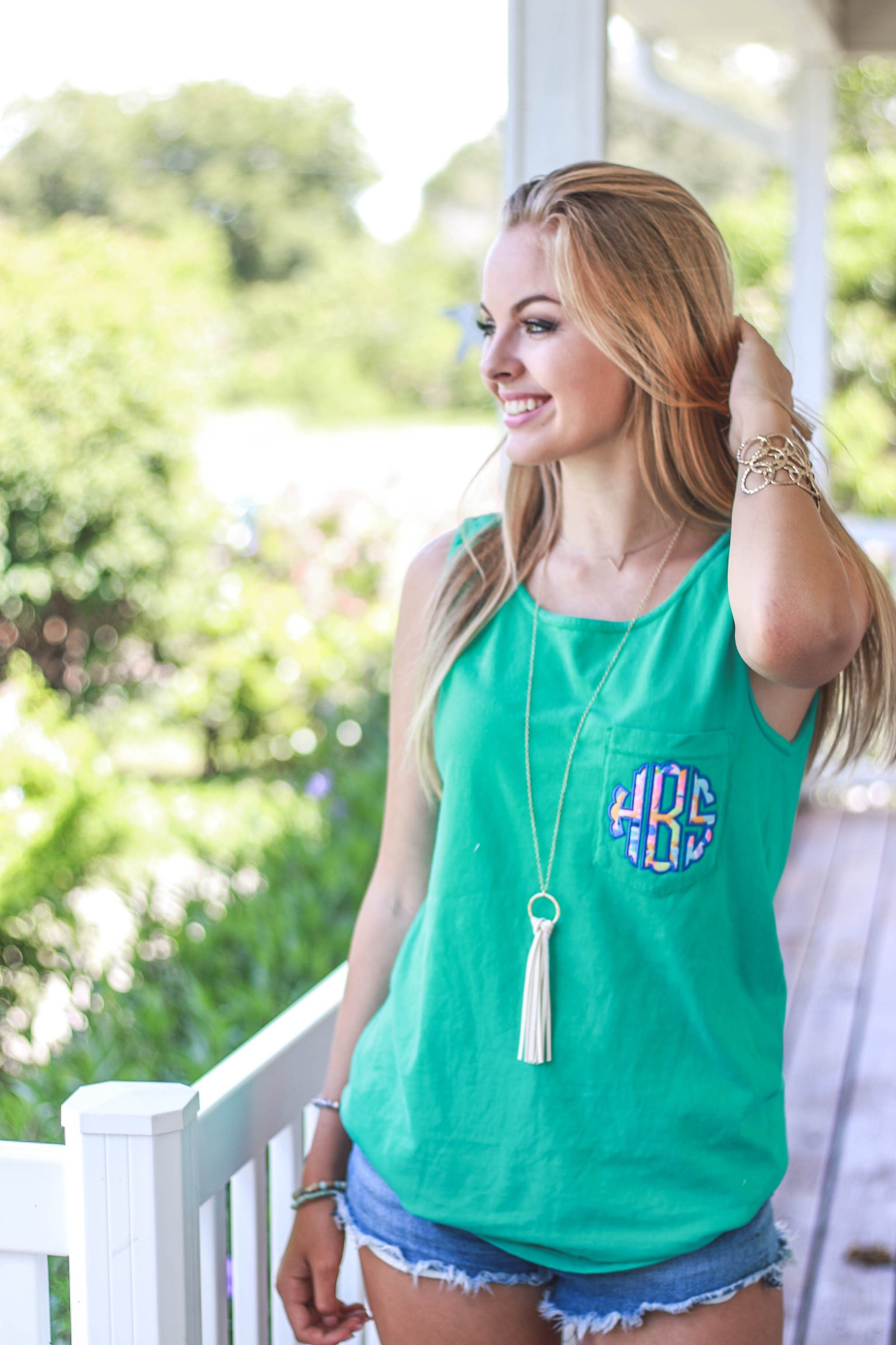 3560e95b87 Lilly Scallop Monogrammed Comfort Colors Pocket Tank Top, ladies, Comfort  Colors, - Sunny