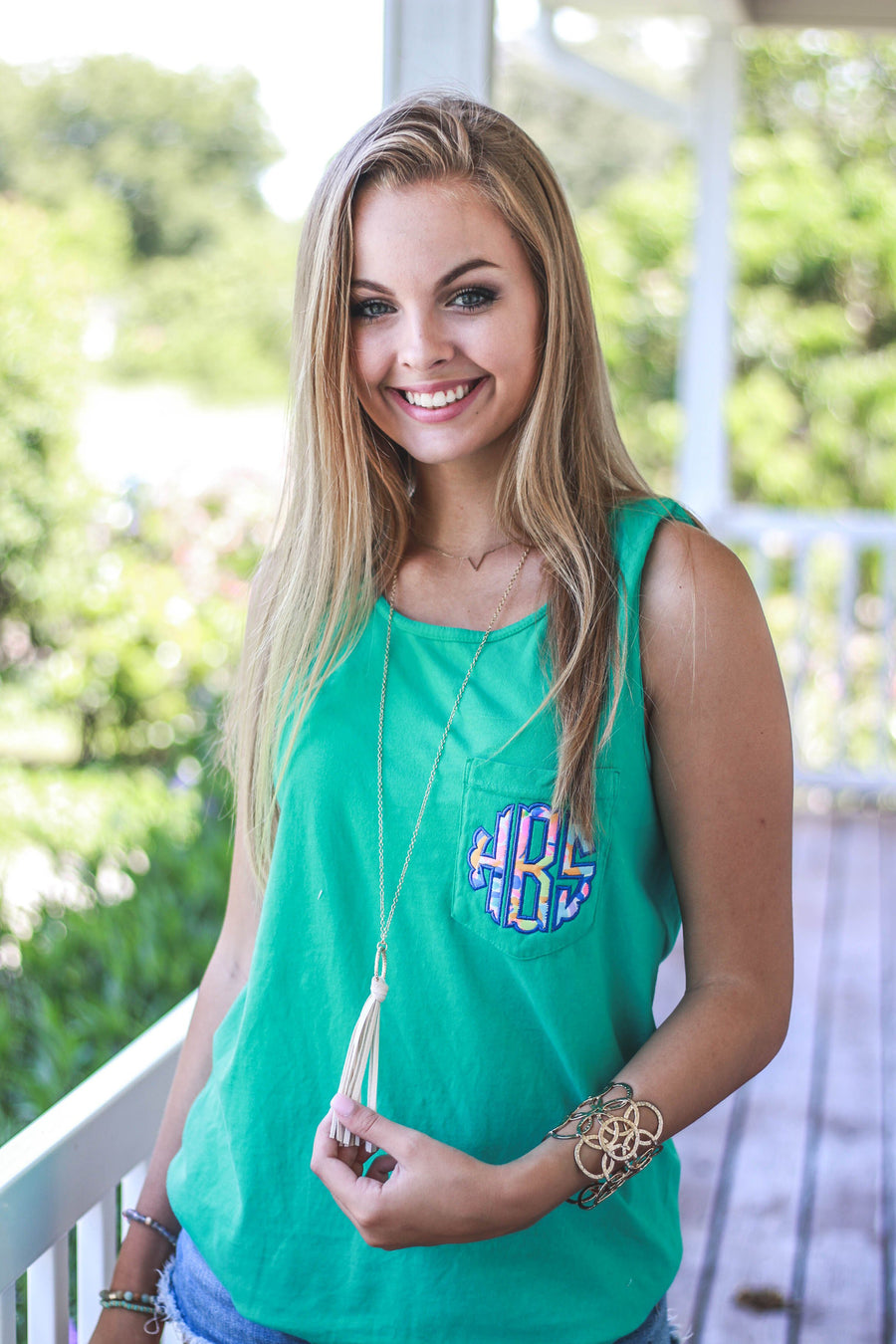 Lilly Scallop Monogrammed Comfort Colors Tank Top Pocket, ladies, Comfort Colors, - Sunny and Southern,