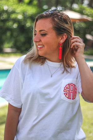 Lilly Scallop Monogrammed Short Sleeve Pocket Tee, Ladies, Sunny and Southern, - Sunny and Southern,