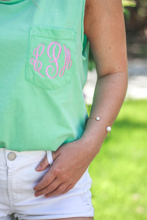 Classic Monogrammed Comfort Colors Tank Top Pocket, ladies, Comfort Colors, - Sunny and Southern,