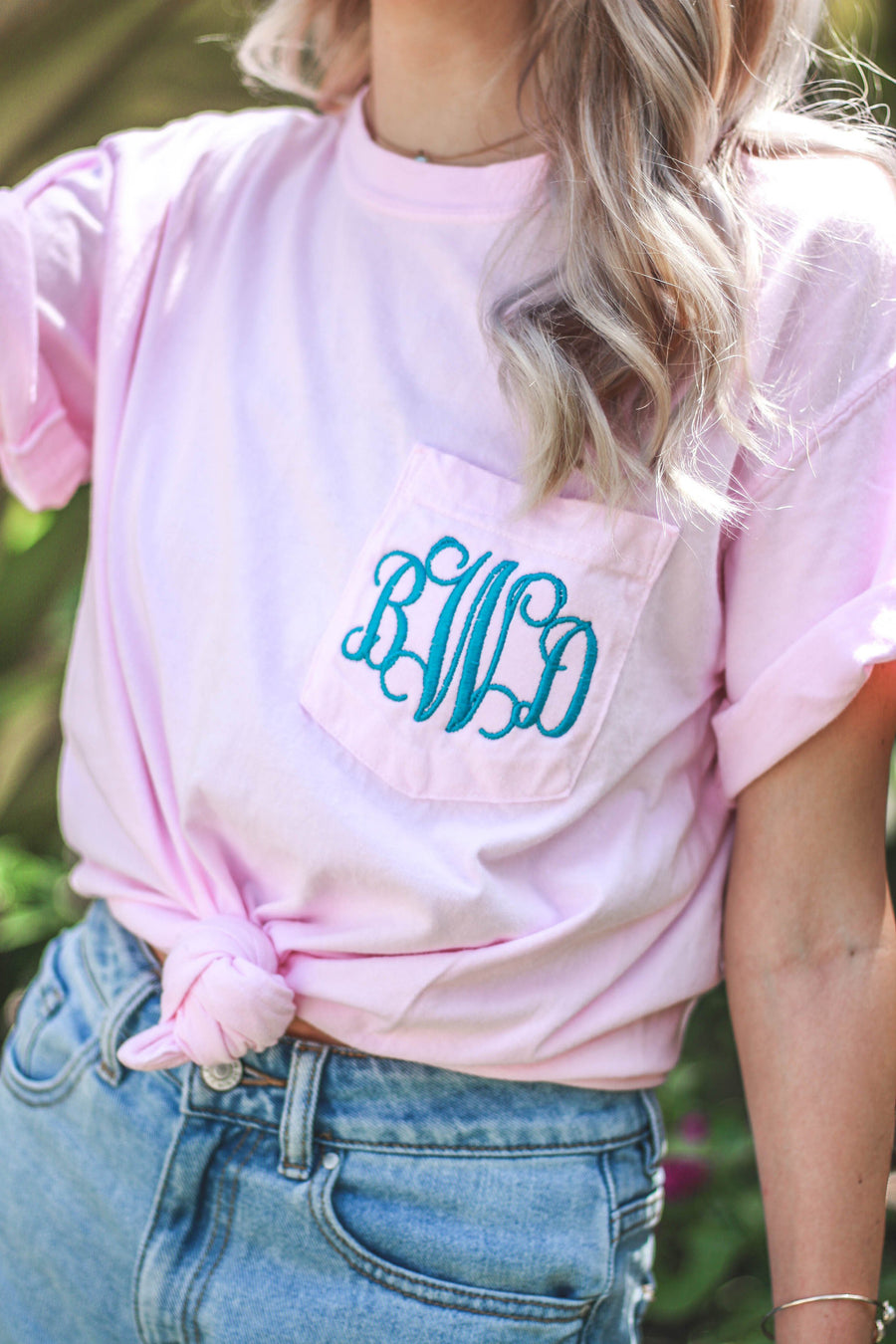 Monogrammed Short Sleeve Pocket Tee, Ladies, Sunny and Southern, - Sunny and Southern,