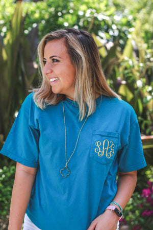 Classic Monogrammed Short Sleeve Pocket Tee, Ladies, Sunny and Southern, - Sunny and Southern,