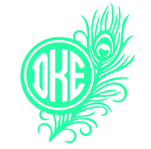 Monogrammed Vinyl Decal Feather, Accessories, Sunny and Southern, - Sunny and Southern,