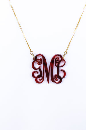 Acrylic Tortoise Shell Monogrammed Necklace, Accessories, Sunny and Southern, - Sunny and Southern,