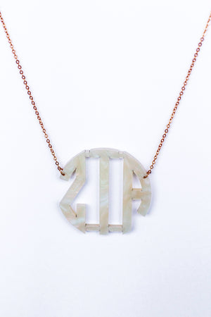 Acrylic Iridescent Pearl Monogrammed Necklace, Accessories, Sunny and Southern, - Sunny and Southern,