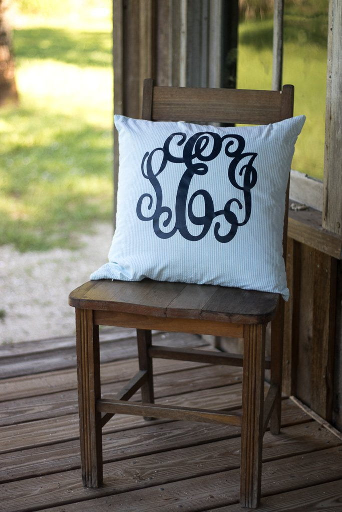 Monogrammed Seersucker Pillow, Home, SunnySouthern, - Sunny and Southern,