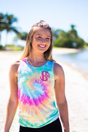 Classic Monogrammed Tie-Dye Tank, Ladies, Blank, - Sunny and Southern,