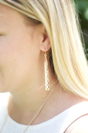 "Hammered Earrings  Gold  2.5"", Accessories, The Royal Standard, - Sunny and Southern,"