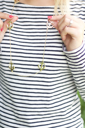 "Anchor Necklace   Gold   32"", Accessories, The Royal Standard, - Sunny and Southern,"