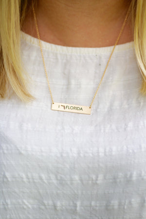 Florida Cut Out Gold Necklace, Accessories, Sunny and Southern, - Sunny and Southern,