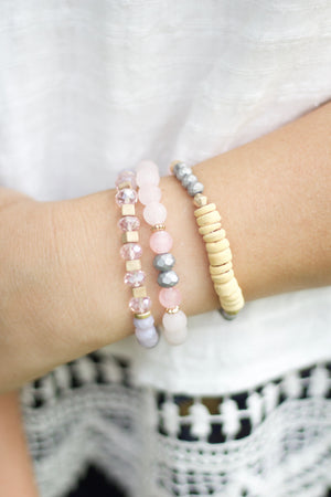 Natural Stone Beaded Elastic Stackable Bracelet Set, Accessories, Sunny and Southern, - Sunny and Southern,