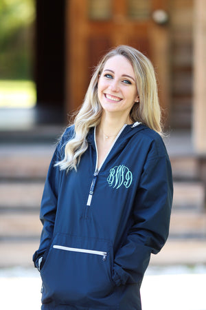 Classic Monogrammed Womens Anorak- Lined Windbreaker, Ladies, Charles River, - Sunny and Southern,