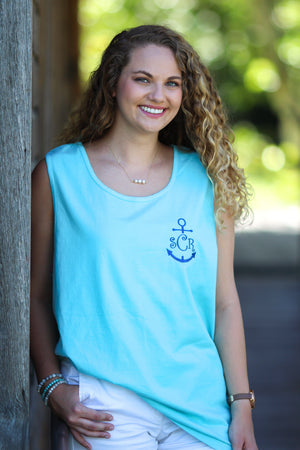 Anchor Monogrammed Unisex Tank Top, Ladies, Sunny and Southern, - Sunny and Southern,