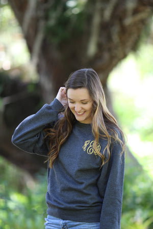 Crew Neck Monogrammed Jacket Sweatshirt, ladies, Sanmar/virg, - Sunny and Southern,