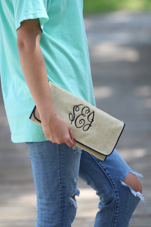 Monogrammed Burlap Jute Wristlet Clutch, Accessories, SunnySouthern, - Sunny and Southern,