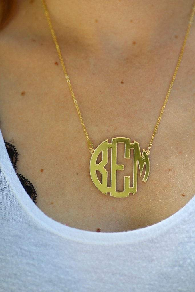 Acrylic Gold Mirrored Monogrammed Necklace, Accessories, Sunny and Southern, - Sunny and Southern,