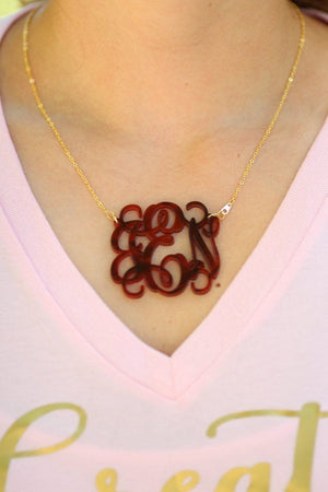Acrylic Rose Pearl Monogrammed Necklace, Accessories, Sunny and Southern, - Sunny and Southern,