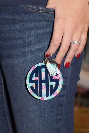Monogrammed Tropical Round Tassel Key Chain, Accessories, Sunny and Southern, - Sunny and Southern,