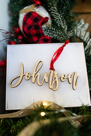 Custom Wood Name Ornament - Johnson Font, Accessories, Sunny and Southern, - Sunny and Southern,