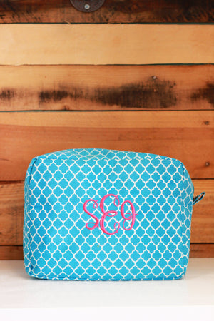 Large Quatrefoil Cosmetic Bag, , Sunny and Southern, - Sunny and Southern,