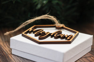 Custom Name Wood Hexagon Ornament- 1 line