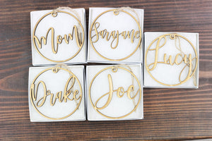 Custom Name Wood Circle Ornament - 1 line, Accessories, Sunny and Southern, - Sunny and Southern,
