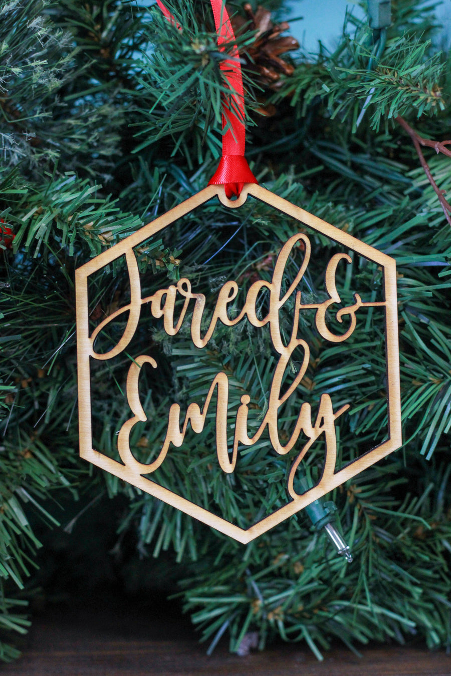 Custom Name Wood Hexagon Ornament - 2 Names