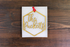 Custom Name Wood Hexagon Ornament - Family Name, Accessories, Sunny and Southern, - Sunny and Southern,